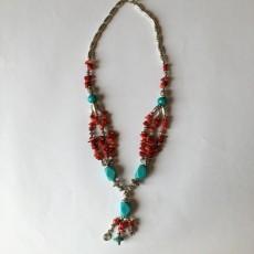 Collier Artisanal Turquoise et Corail